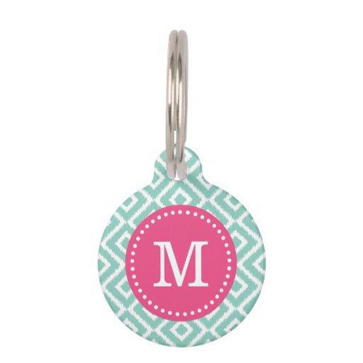 Aqua and Pink Ikat Diamonds Monogram Pet Tag