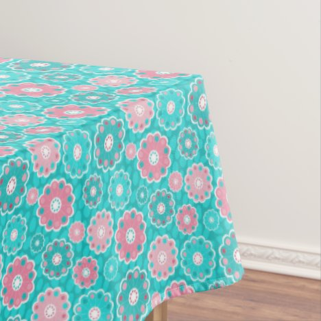 Aqua and Pink modern flowery Tablecloth