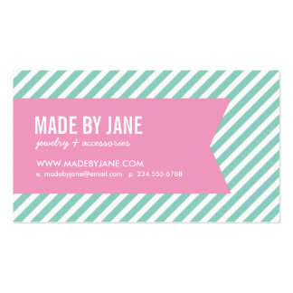 Aqua and Pink Modern Stripes and Ribbon Double-Sided Standard Business Cards (Pack Of 100)