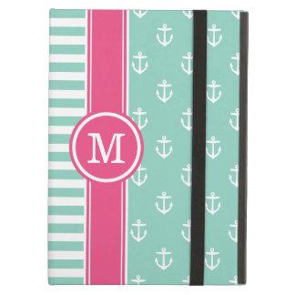 Aqua and Pink Nautical Anchors Monogram Case For iPad Air