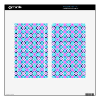 Aqua and Pink Pattern Background Skins For Kindle Fire