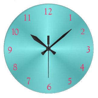 Aqua and Pink> Plain Wall Clock