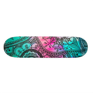 Aqua and Pink Tribal Hippie Pattern Skateboard
