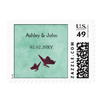 aqua and plum vintage butterflies postage