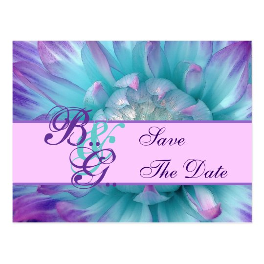 Aqua and Purple Flower Petals Save the  Date Postcard