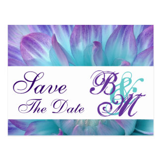 Aqua and Purple Flower Petals Save the  Date V2 Postcard