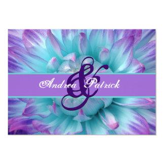 Aqua and Purple Flower Petals Wedding D581 Card