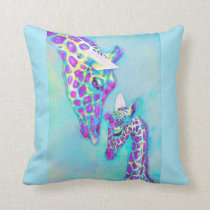 aqua and purple giraffe pillow