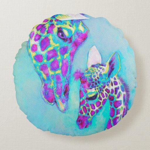 Aqua and purple giraffe round pillow | Zazzle