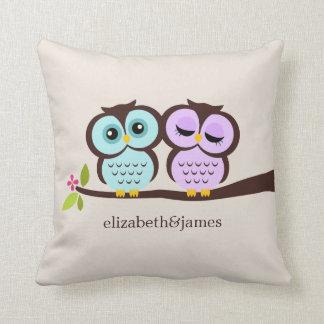 Aqua and Purple Owls Custom Throw Pillow