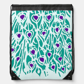 Aqua and Purple Peacock Feathers Backpack