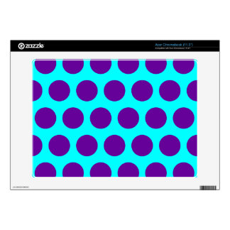 Aqua and Purple Polka Dots Decal For Acer Chromebook