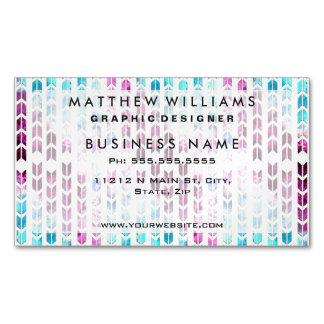 Aqua and Purple Watercolor Arrows Business Card Magnet