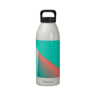 Aqua and Red Abstract Lines Reusable Water Bottles