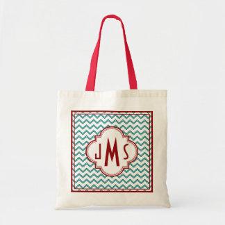 Aqua and Red Chevron Monogram Bag