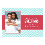 Aqua and Red Chic Chevrons Custom Holiday Cards Personalized Invitation