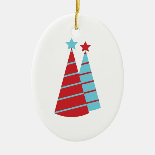 Aqua and Red Christmas Trees Ceramic Ornament