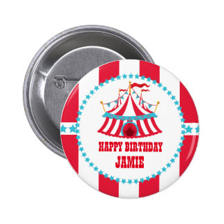 Aqua and Red Circus Birthday Button
