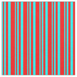 [ Thumbnail: Aqua and Red Colored Striped Pattern Fabric ]