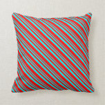 [ Thumbnail: Aqua and Red Colored Striped Pattern Throw Pillow ]