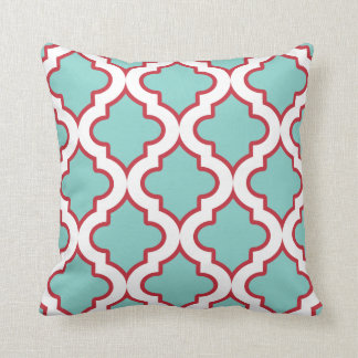 Aqua and Red Holiday Moroccan Quatrefoil Throw Pillow