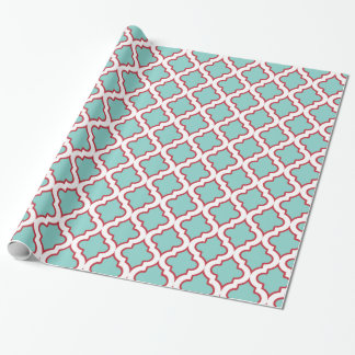 Aqua and Red Holiday Moroccan Quatrefoil Wrapping Paper