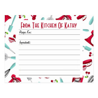 Aqua and Red Kitchen Gadget Recipe Card
