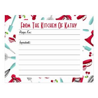 Aqua and Red Kitchen Gadget Recipe Card Postcards