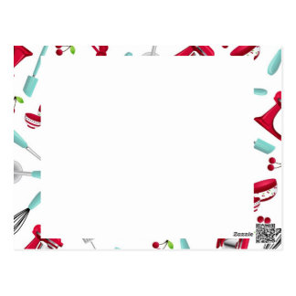 Aqua and Red Kitchen Gadget Recipe Card Unlined Postcard