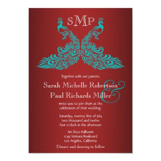 Aqua and Red Peacock Wedding Invitations