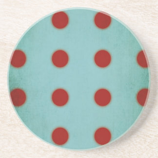Aqua and Red Sandstone Drink Coaster