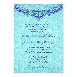 Aqua and Royal Blue Vintage Monogram Wedding H346 5x7 Paper Invitation Card
