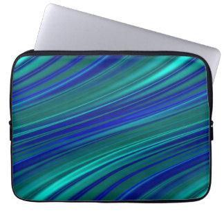 Aqua and royal blue wavy stripes laptop sleeve