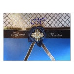 "Aqua and Royal Blue Wedding Invitations 5"" X 7"" Invitation Card"