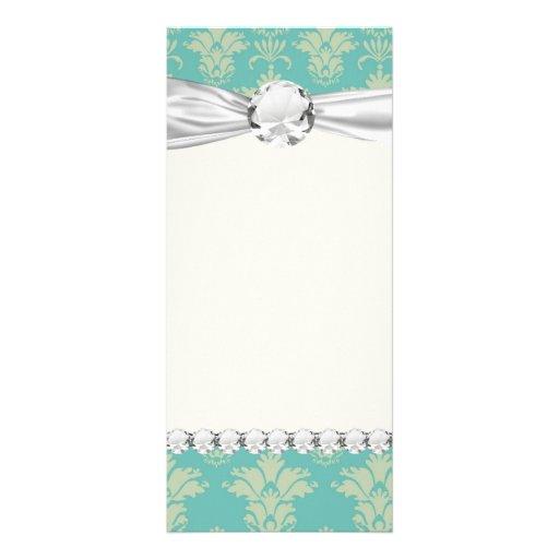 aqua and sage lovely damask pattern custom rack card