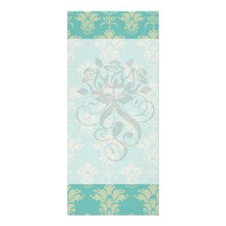 aqua and sage lovely damask pattern customized rack card