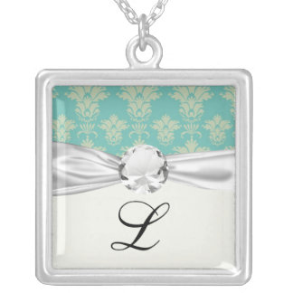 aqua and sage lovely damask pattern silver plated necklace