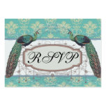 aqua and sage lovely peacock damask pattern large business cards (Pack of 100)