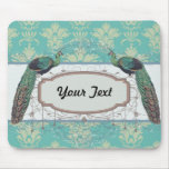 aqua and sage lovely peacock damask pattern mouse pad