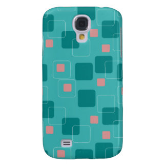 Aqua and Salmon Squares pattern Galaxy S4 Cover