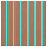 [ Thumbnail: Aqua and Sienna Stripes Fabric ]