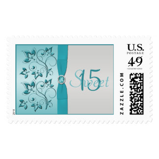 Aqua and Silver Floral Quinceanera Postage