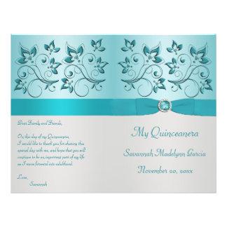 Aqua and Silver Floral Quinceanera Program Flyer