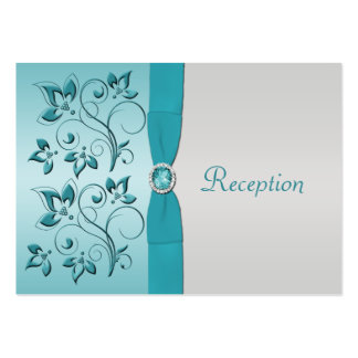 Aqua and Silver Floral Reception Card Large Business Cards (Pack Of 100)