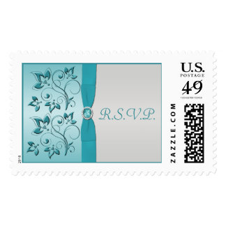 Aqua and Silver Floral RSVP Postage