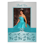 Aqua and Silver Floral Thank You card with Photo Card