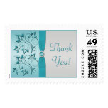 Aqua and Silver Floral Thank You Postage