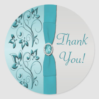 Aqua and Silver Floral Thank You Sticker