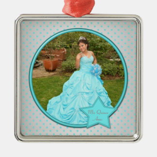 Aqua and Silver Polka Dot Photo Premium Ornament