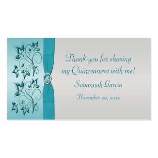 Aqua and Silver Quinceanera/Sweet 16 Favor Tag Double-Sided Standard Business Cards (Pack Of 100)